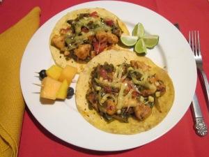 The finished purslane tacos.